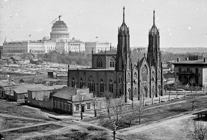 Construction of the US Capitol Building, Washington DC, 1860s