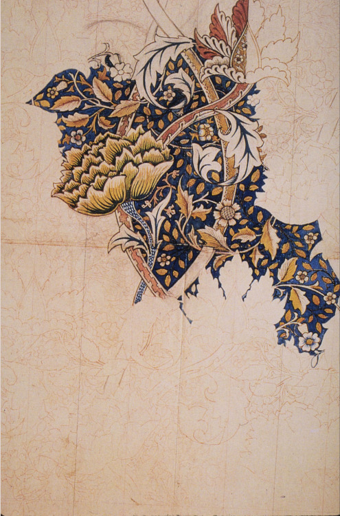 William Morris, unfinished sketch of a floral printed fabric design,1880s