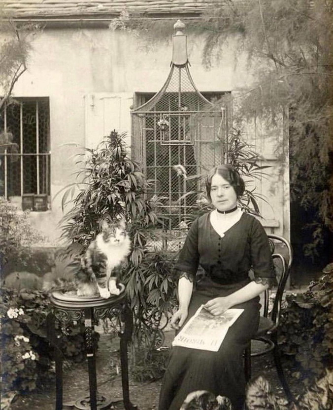 Woman with a cat in a garden