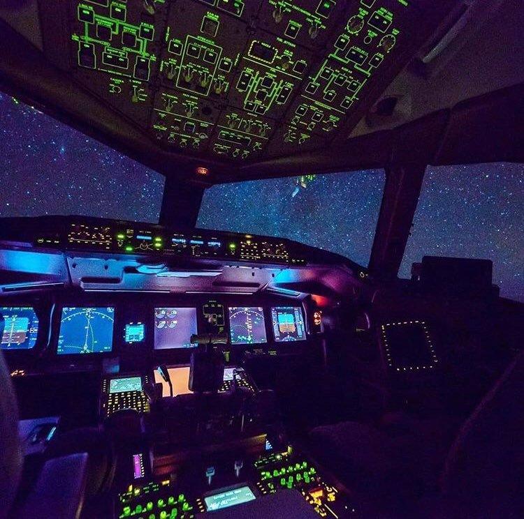 Airplane cockpit atnight