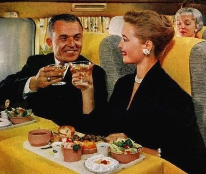 Airplane dinner, circa1950