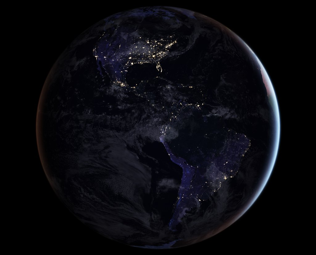 The Americas from space atnight