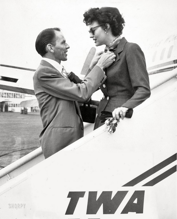 Frank Sinatra greeting Ava Gardner upon her arrival in NYC,1950s