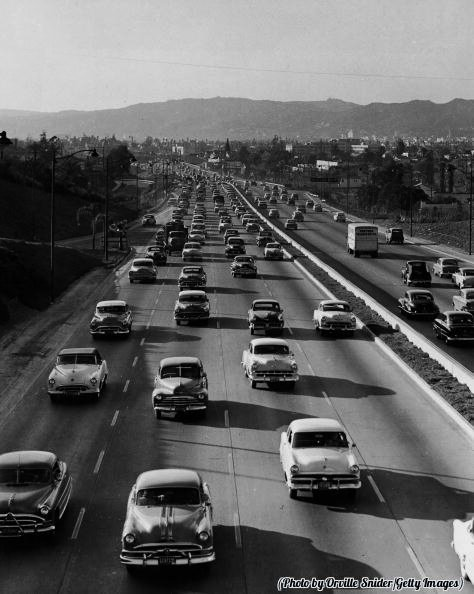 Freeway, Los Angeles, late 1940s