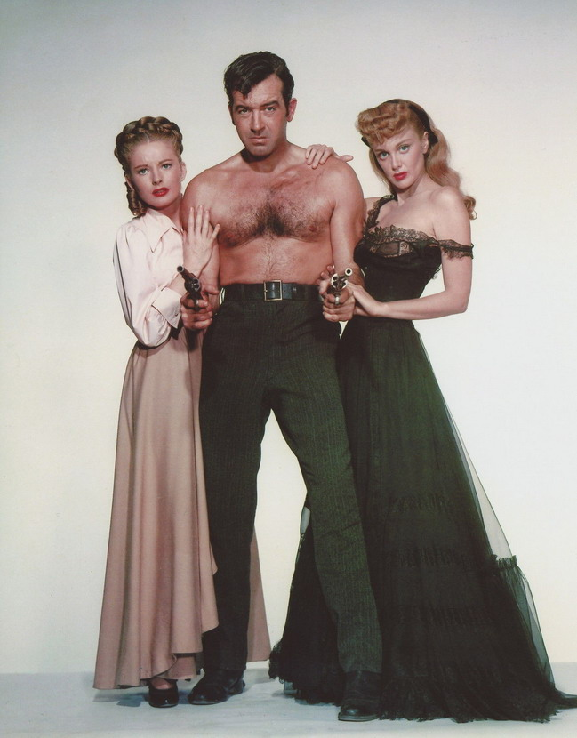 """Shirtless John Payne with Jan Sterling and  Coleen Gray """"The Vanquished"""", 1953"""