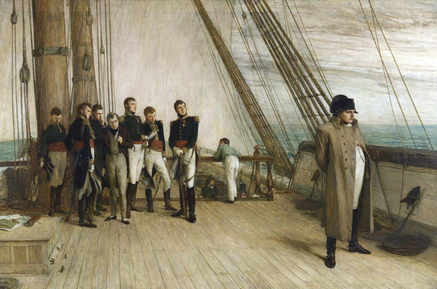 Napoleon being transported to exile,1815