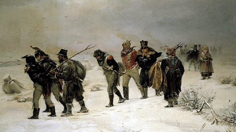 Napoleon's Army in disarray during the winter invasion of Russia
