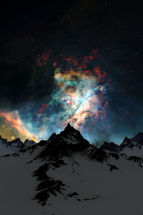 Mountains and nebula