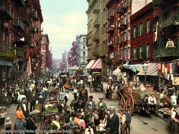 Colourized photo of a main street in the Little Italy section of NYC, 1890s