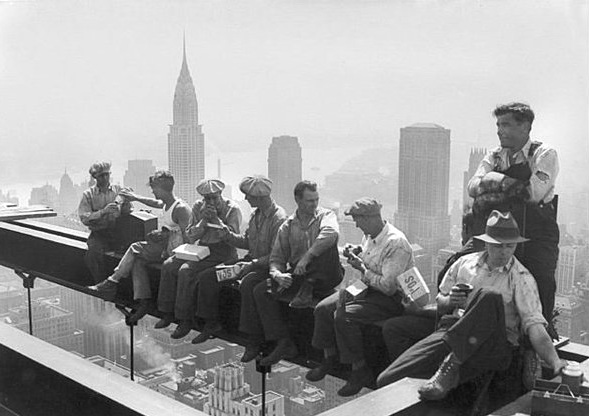 Construction workers taking a lunch break way up high, RCA building, NYC, circa1930
