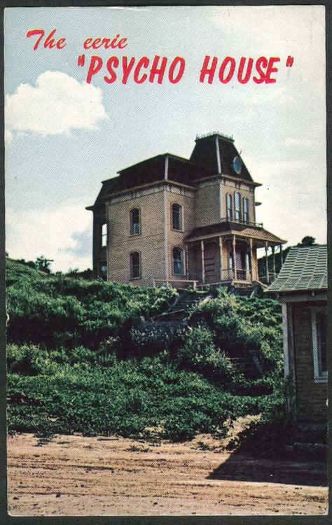"""Postcard of the house used as the setting for Alfred Hitchcock's """"Psycho"""""""