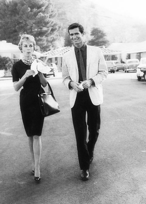 """Janet Leigh and Anthony Perkins arriving for work on the set for the filming of """"Psycho"""""""