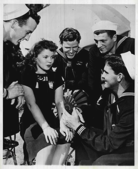 Shirley Temple with some US Sailors, WWII,1940s