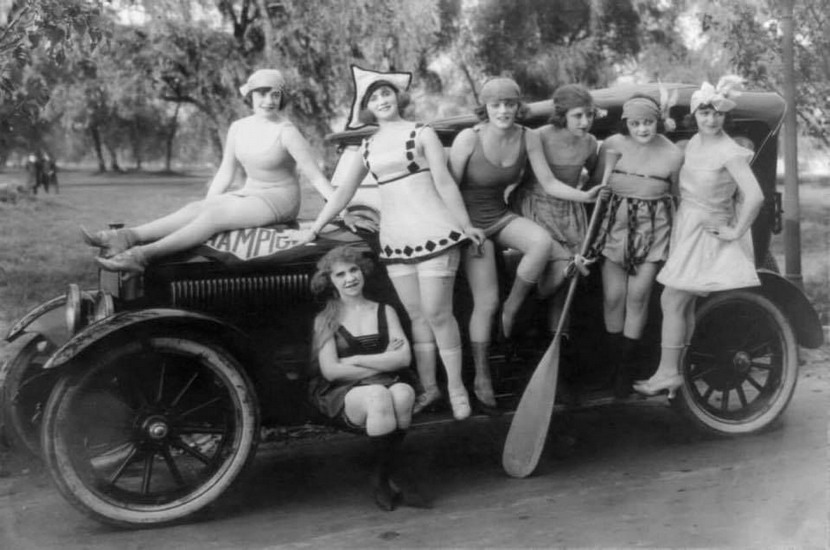 Ladies dressed in swimwear headed to a beach along the Potomac River, Washington DC, 1920s