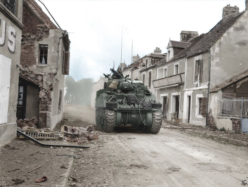 Allied Tank in Normandy, France, a short while after D-Day, WWII,1944