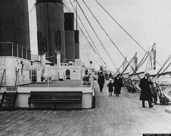 The top deck of the RMS Titanic, for second classpassengers