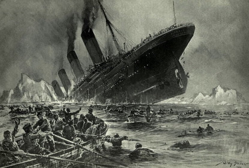 The sinking of the Titanic,1912