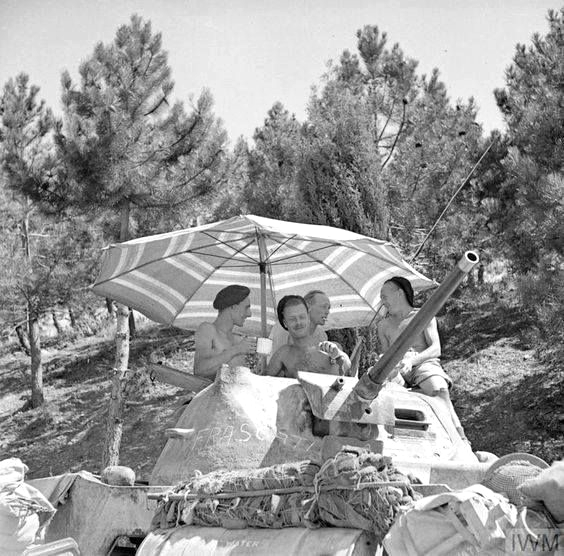 British troops having a break, Southern Italy, WWII,1944