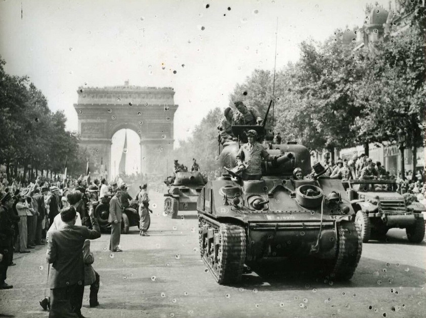 """Allied troops in the """"Liberators Parade"""" after the Nazis were kicked out of Paris, Summer1944"""