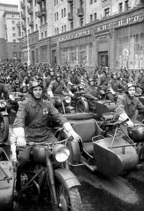 Soviet motorcycle troops, Moscow, WWII