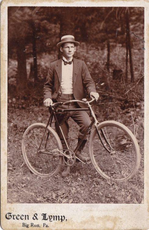 Vintage bicyclist, Pennsylvania