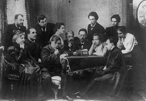 "Anton Chekov reading from his work (""The Seagull"", I think) to an enraptured crowd"