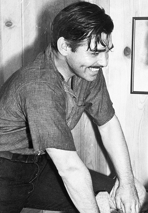 "Clark Gable, looking ruggedly handsome, on the set of ""Gone With the Wind"", 1939"