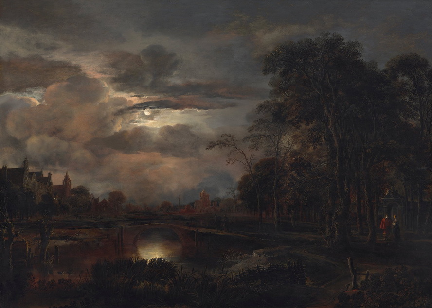 Moonlit Dutch landscape painting,1600s