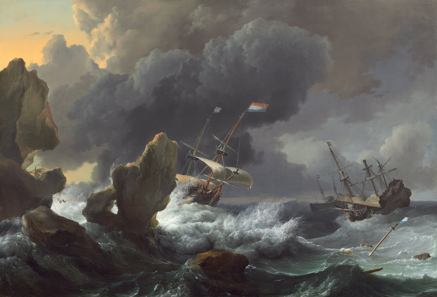 """Ships in Distress off a Rocky Coast"" by Ludolf Backhuysen, Dutch,1667"