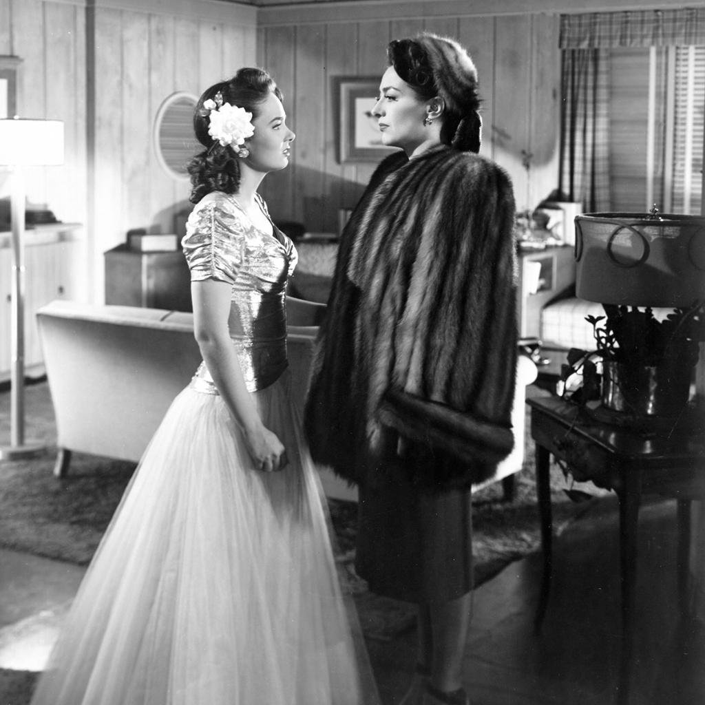 """Ann Blyth and Joan Crawford in one of many memorable mother-daughter scenes in """"Mildred Pierce"""",1945"""