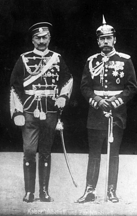 Swapping clothes: Kaiser Wilhelm II of Prussia (left) wearing a Russian army uniform and Tsar Nicholas II of Russia (right) wearing a Prussian army uniform, 1905