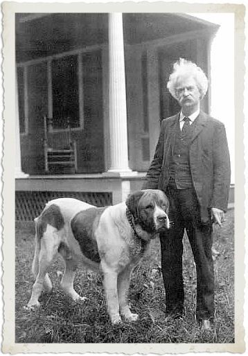 Mark Twain/Samuel Clemens with his dog
