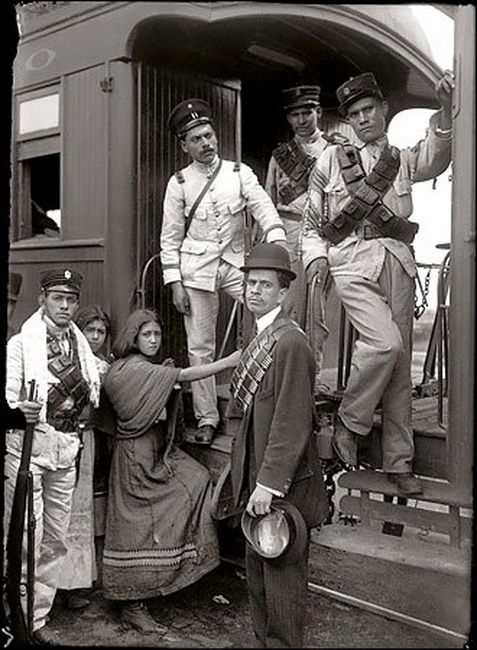 Boarding a train during the Mexican Revolution, 1910s (and, yes, I do realize that the Mexican Revolution had nothing to do with Cinco deMayo)