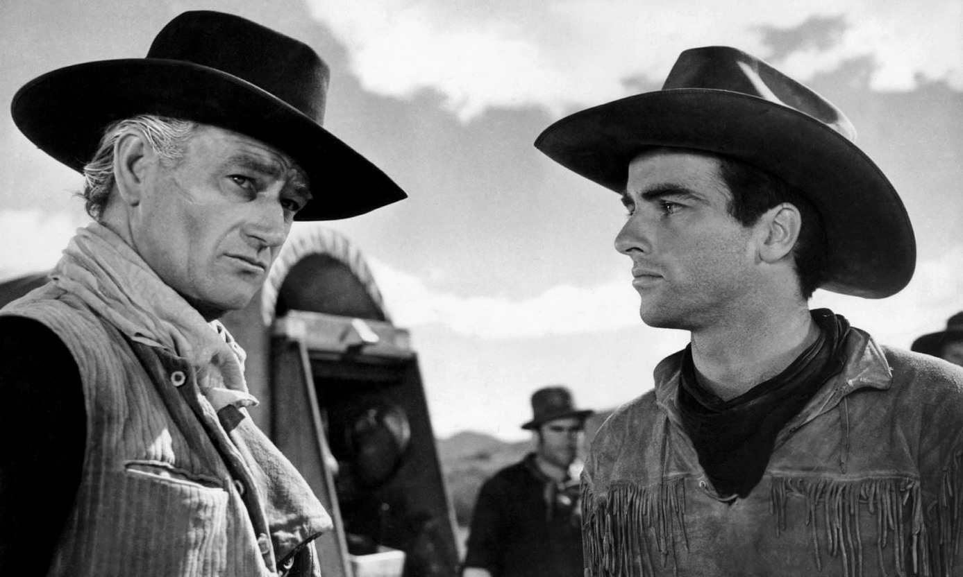 """John Wayne and Montgomery Clift in """"RedRiver"""""""