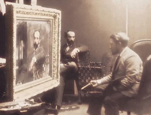 Sitting for a portrait painter,1800s