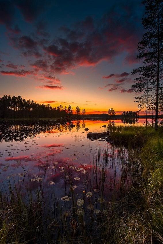 Sunset reflection on apond