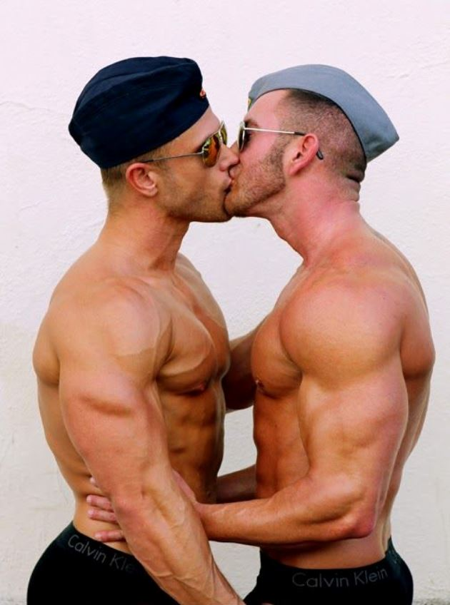 Soldiers kissing