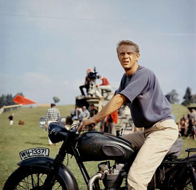 Steve McQueen on a motorcycle,1960s