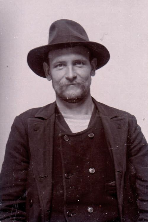 Mug shot of a Swedish man arrested for theft,1905