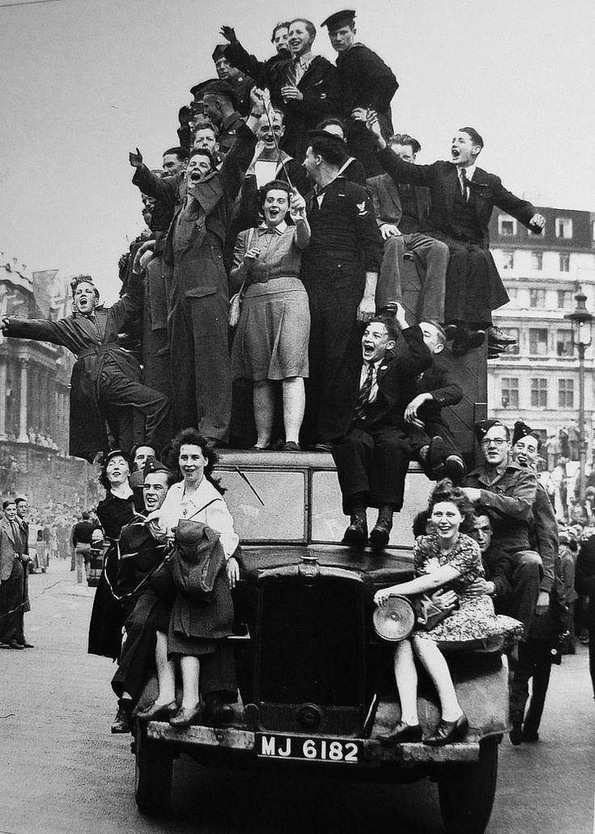 Celebrating the end of WWII, London, 1945