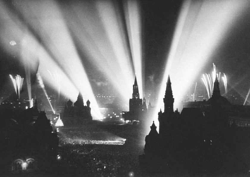 Moscow celebrating the defeat of the Nazis in WWII, May, 1945