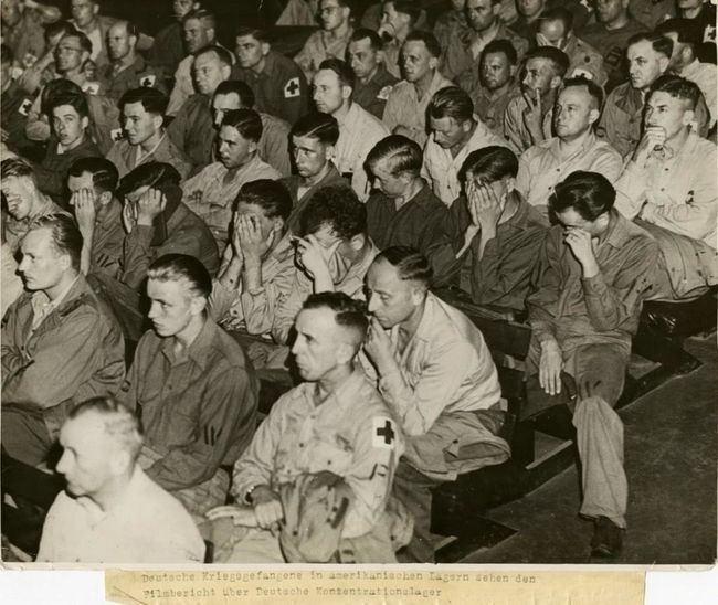 WWII: Allied troops made German soldiers (POWs) watch films about the atrocities the Nazis committed during the war, 1945