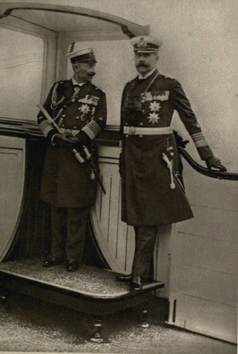 Archduke Franz Ferdinand and Kaiser Wilhelm II on board of the Hohenzollern. Circa 1906