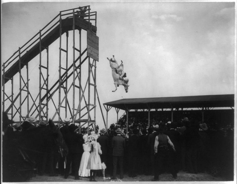 Cowgirl stunt, 1800s