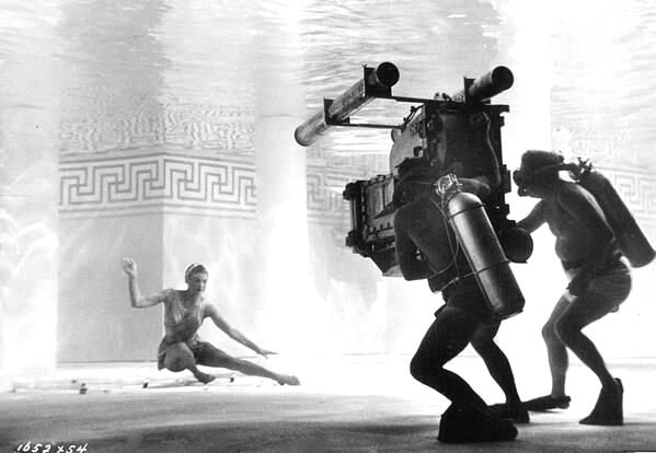 Esther William being filmed underwater, 1940s