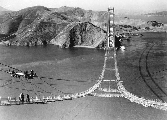 Golden Gate Bridge under construction, San Francisco,1930s