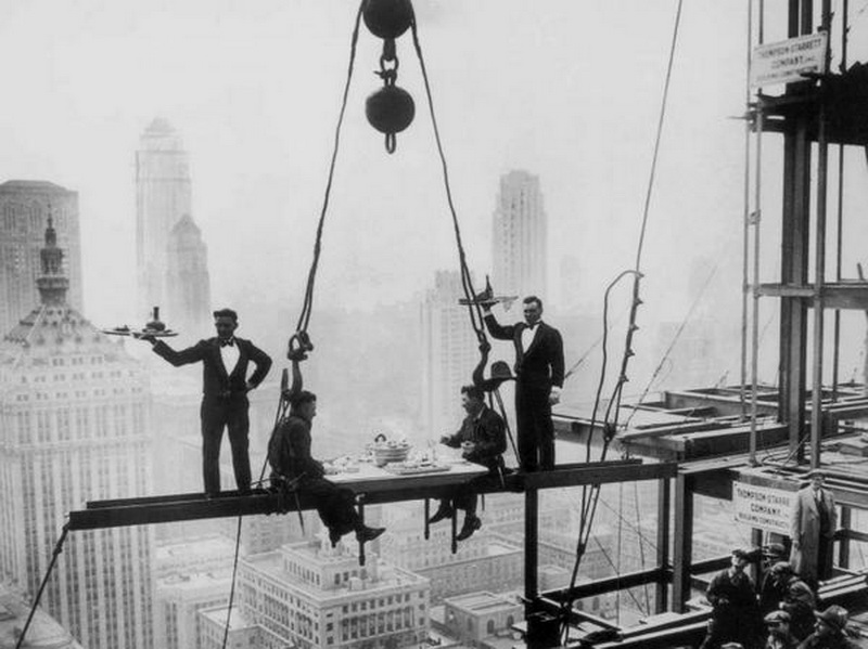 Workers taking a posed shot while building the Waldorf-Astoria Hotel, NYC, 1930