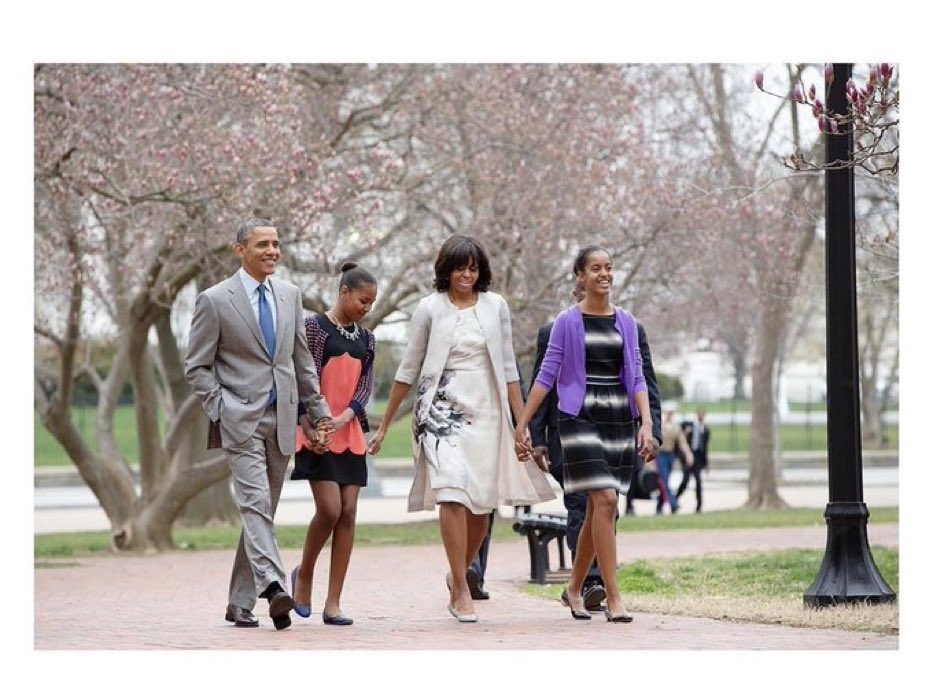 President Obama and his family taking a peaceful walk in Lafayette Park (2013), Washington DC, the same park Trump cleared out protesters with tear gas recently so that he could walk across it for a photoop