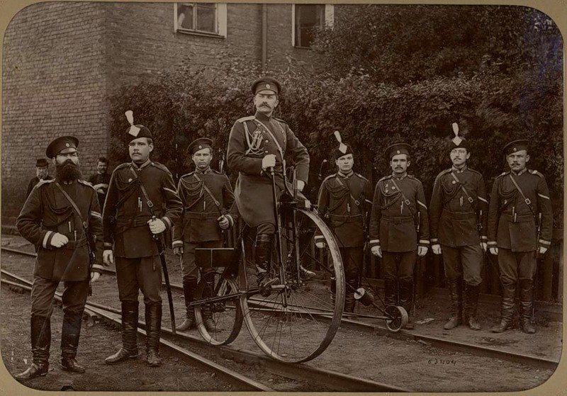 Soldiers with a rail bicycle, Russia