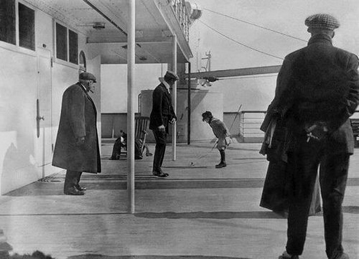 Rare photo of the Titanic while en route (crossing the Atlantic), 2nd Class Deck I think